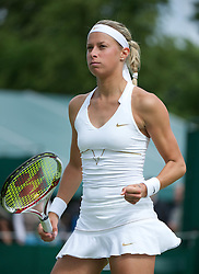 22.06.2011, Wimbledon, London, GBR, Wimbledon Tennis Championships, im Bild Andrea Hlavackova (CZE) in action during the Ladies' Singles 1st Round match on day three of the Wimbledon Lawn Tennis Championships at the All England Lawn Tennis and Croquet Club., EXPA Pictures © 2011, PhotoCredit: EXPA/ Propaganda/ *** ATTENTION *** UK OUT!