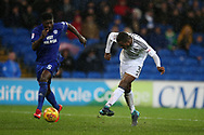 Ryan Sessegnon of Fulham (3) shoots and scores his teams 3rd goal. EFL Skybet championship match, Cardiff city v Fulham at the Cardiff city stadium in Cardiff, South Wales on Boxing Day, Tuesday 26th December 2017.<br /> pic by Andrew Orchard, Andrew Orchard sports photography.