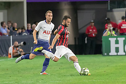 July 31, 2018 - Minneapolis, Minnesota, U.S - Milan's HAKAN CALHANOGLU sends a cross into the box as CHRISTIAN ERIKSEN pursues. (Credit Image: © Keith R. Crowley via ZUMA Wire)