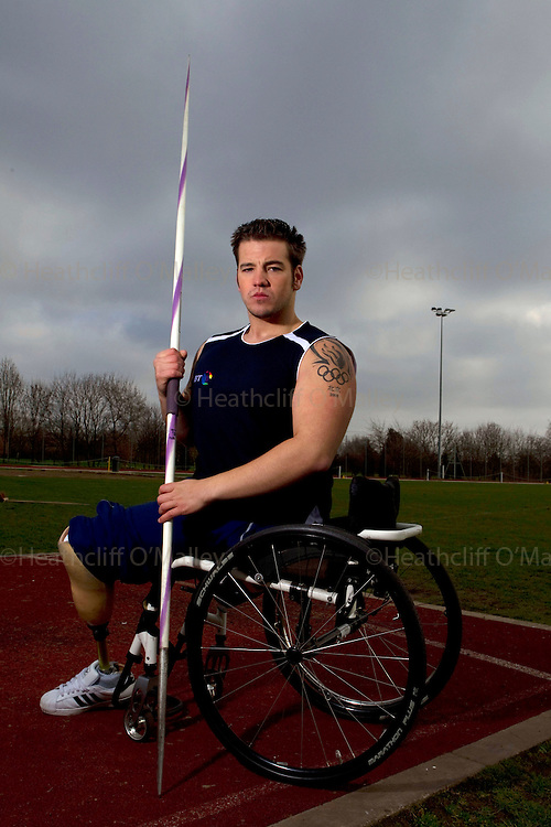 Mcc0029764 . Daily Telegraph..Paralympic Nathan Stephens, the junior World Champion Javelin thrower, photographed at Lea Valley Athletics Ground. Nathan is one of the UK's most talented Paralympic athletes and has represented Great Britain at both the Paralympic Winter Games in 2006 in Sled Hockey and the Paralympic Games in Beijing last year. Hd lost both his legs at the age of nine after being run over by a train...London 3 March 2011