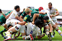 The Leicester Tigers pack rumble their way towards the try-line - Photo mandatory by-line: Patrick Khachfe/JMP - Tel: Mobile: 07966 386802 - 08/09/2013 - SPORT - RUGBY UNION - Welford Road Stadium - Leicester Tigers v Worcester Warriors - Aviva Premiership.
