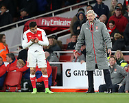 Arsenal's Arsene Wenger looks on after Alexis Sanchez gets a ball in the face during the Premier League match at the Emirates Stadium, London. Picture date: April 26th, 2017. Pic credit should read: David Klein/Sportimage