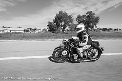 Darryl Richman riding his 1928 BMW R52 during Stage 9 (249 miles) of the Motorcycle Cannonball Cross-Country Endurance Run, which on this day ran from Burlington to Golden, CO., USA. Sunday, September 14, 2014.  Photography ©2014 Michael Lichter.