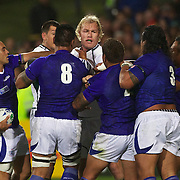 Schalk Burger, South Africa, is confronted by Samoan players during the South Africa V Samoa, Pool D match during the IRB Rugby World Cup tournament. North Harbour Stadium, Auckland, New Zealand, 30th September 2011. Photo Tim Clayton...