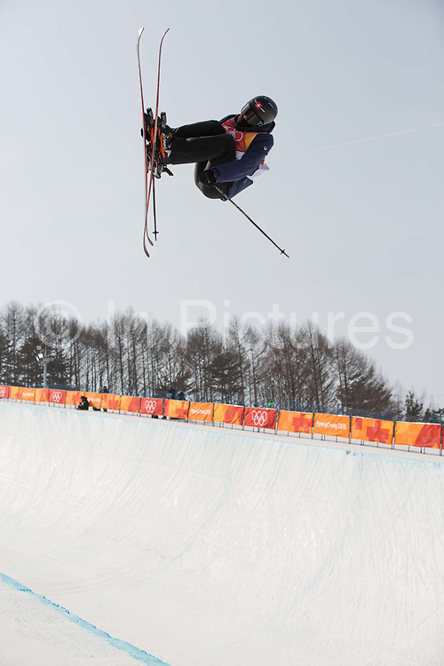 Robin Briguet, Switzerland, during the mens skiing halfpipe qualification at the Pyeongchang 2018 Winter Olympics on February 20th 2018, at the Phoenix Snow Park in Pyeongchang-gun, South Korea