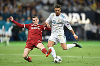 KIEV, UKRAINE - MAY 26: Cristiano Ronaldo of Real Madrid takes a shot on goal during the UEFA Champions League final between Real Madrid and Liverpool at NSC Olimpiyskiy Stadium on May 26, 2018 in Kiev, Ukraine. (MB Media)