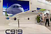 A scaled model by the Commercial Aircraft Corporation of Chinas C919 on the companys exhibition stand at the Farnborough Airshow, on 16th July 2018, in Farnborough, England.