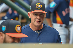 March 26, 2018 - Houston, TX, U.S. - HOUSTON, TX - MARCH 26: Houston Astros manager A.J. Hinch (14) chats in the dugout during the game between the Milwaukee Brewers and Houston Astros at Minute Maid Park on March 26, 2018 in Houston, Texas. (Photo by Ken Murray/Icon Sportswire) (Credit Image: © Ken Murray/Icon SMI via ZUMA Press)