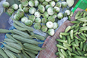 Fresh  vegetables for sale at Daeum Kor morning market in Phnom Penh, the capital city of Cambodia. A large variety of local products are available for sale in fresh markets all over Cambodia, all being sold on small individual stalls.
