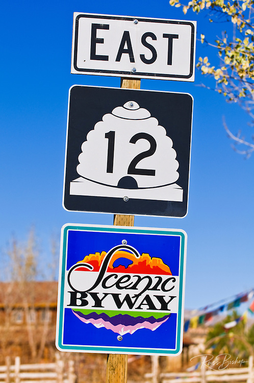 Highway 12 scenic byway sign, Grand Staircase-Escalante National Monument, Utah