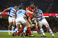 Gethin Jenkins of Wales © pushes his way forward against the Argentina defence. Under Armour 2016 series international rugby, Wales v Argentina at the Principality Stadium in Cardiff , South Wales on Saturday 12th November 2016. pic by Andrew Orchard, Andrew Orchard sports photography