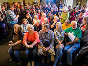 26 APRIL 2019 - TIPTON, IOWA: People wait for a campaign appearance by Sen. Elizabeth Warren to start in the Tipton Family Restaurant. Sen. Warren is campaigning in eastern Iowa Friday. Iowa traditionally hosts the the first selection event of the presidential election cycle. The Iowa Caucuses will be on Feb. 3, 2020.                    PHOTO BY JACK KURTZ