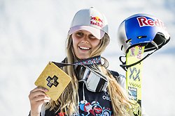 May 19, 2018 - Fornebu, NORWAY - 180519 Jennie-Lee Burmansson of Sweden celebrates with the gold medal after the women's big air ski finals during X Games Norway on May 19, 2018 in Oslo. .Photo: Vegard Wivestad Grøtt / BILDBYRÃ…N / kod VG / 170170 (Credit Image: © Vegard Wivestad GrØTt/Bildbyran via ZUMA Press)