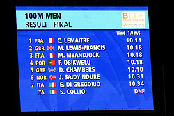 Christophe Lemaitre of France wins gold in the Mens 100m Final ahead of 4 athletes with the same time during day two of the 20th European Athletics Championships at the Olympic Stadium on July 28, 2010 in Barcelona, Spain. (Photo by Vid Ponikvar / Sportida)