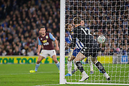 GOAL from Haydon Roberts (Brighton) during the EFL Cup match between Brighton and Hove Albion and Aston Villa at the American Express Community Stadium, Brighton and Hove, England on 25 September 2019.