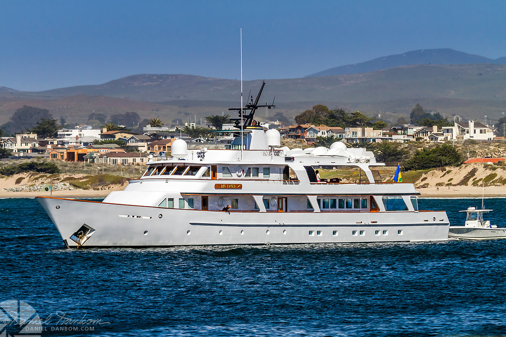 """Yaght """"Big Eagle"""" anchored in Monterey Bay off the harbor, Monterey, California"""