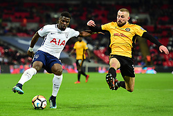 Serge Aurier of Tottenham Hotspur Battles for the ball with Dan Butler of Newport County - Mandatory by-line: Alex James/JMP - 07/02/2018 - FOOTBALL - Wembley Stadium - London, England - Tottenham Hotspur v Newport County - Emirates FA Cup fourth round proper