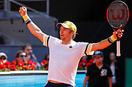 Dusan Lajovic of Serbia celebrates the victory against Juan Martin del Potro of Argentina during the Mutua Madrid Open 2018, tennis match on May 10, 2018 played at Caja Magica in Madrid, Spain - Photo Oscar J Barroso / SpainProSportsImages / DPPI / ProSportsImages / DPPI