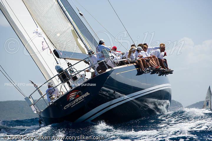 Chippewa sailing race 3 at Antigua Sailing Week.