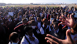 South Africa Cape Town 21 June 2020 Sinethemba High School learns  observe moment of silent in the scene where Amahle Quku was killed. The Teachers and Pupils of Sinethemba High School protesting after Amahle Quku was killed in Philippi and they march against Gender Based Voilance.A group of learners protesting while a 20 year old accused is appearing in connection with the death of 17 year old Amahle Quku of Phillipi. The body of Quku who was in grade 11 was found by residents in a street in Browns Farm. She was allegedly raped and killed.Photographer Ayanda Ndamane African News Agency/ANA