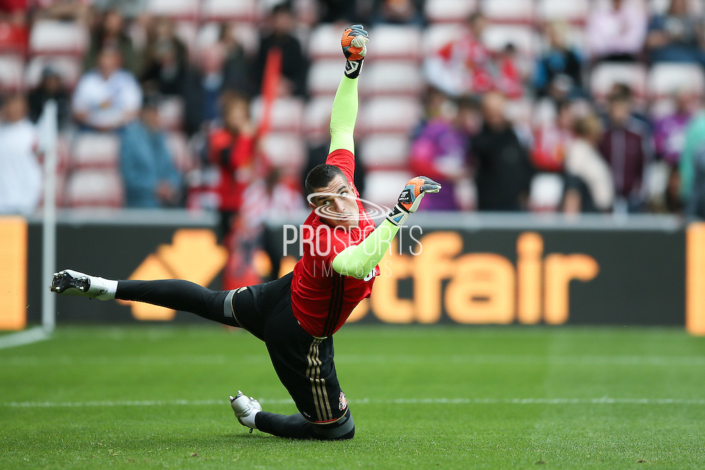 Sunderland goalkeeper Vito Mannone (1)  during the Premier League match between Sunderland and Middlesbrough at the Stadium Of Light, Sunderland, England on 21 August 2016. Photo by Simon Davies.