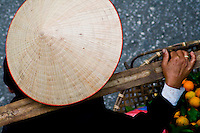 close up of a conical street vendor from above.