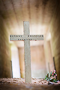 Cross inside Bayonet Trench in Douaumont, France