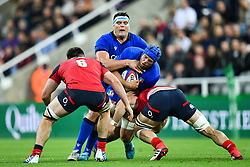 Dean Budd of Italy is tackled by Mark Wilson of England<br /> <br /> Photographer Craig Thomas/Replay Images<br /> <br /> Quilter International - England v Italy - Friday 6th September 2019 - St James' Park - Newcastle<br /> <br /> World Copyright © Replay Images . All rights reserved. info@replayimages.co.uk - http://replayimages.co.uk