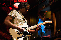 Guitar player Chuck Anthony performing at jazz club, Stampen