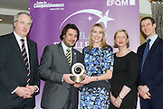 Dr Tony Lenehan of Fáilte Ireland and Matt Fisher COO, EFQM present Lisa Feely, Joe Flynn and Niamh Mannion of Friends First with their award at the EFQM Ireland Excellence Awards ceremony in association with Fáilte Ireland and the Centre for Competitiveness at the Galway Bay Hotel on Friday night. Photo:- Andrew Downes Photography / No Fee