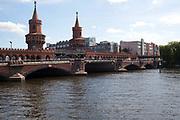 Oberbaum bridge on the Elb river, Kreuzberg, Berlin, Germany.