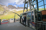 The funicular from Pordoi Pass to the top of Sass Pordoi (2952m) Dolomites, italy