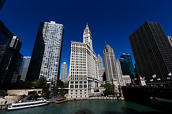 The Wrigley building, and the Tribune building from across the river in Chicago