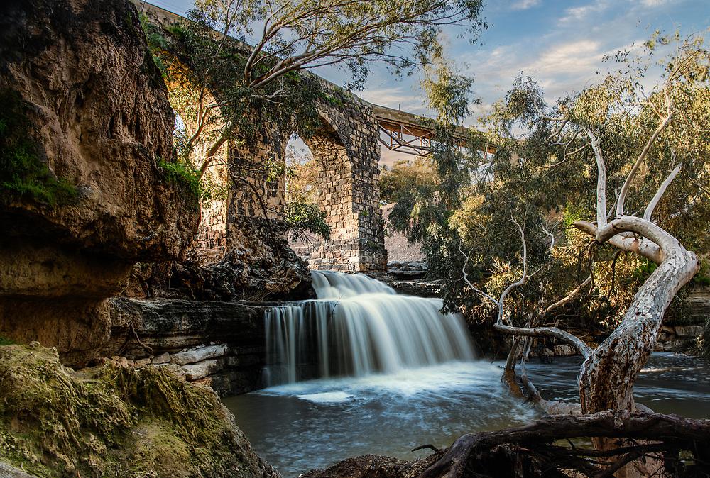 Waterfall under the Kantra bridge near Beit Shean in Israel