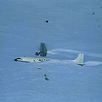 ANTARCTICA. Wheeled DC-4 that crashed Thanksgiving day, 1993, carrying dogs & supplies for Norman Vaughan expedition.