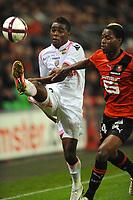 FOOTBALL - FRENCH CHAMPIONSHIP 2011/2012 - L1 - STADE RENNAIS v FC LORIENT  - 16/10/2011 - PHOTO PASCAL ALLEE / DPPI - JOEL NATHANIEL CAMPBELL SAMUELS (FCL) / GEORGES MANDJECK (REN)