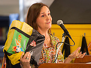 Cindy Puryear comments during a Read Houston Read news conference at Garcia Elementary School, September 4, 2014.