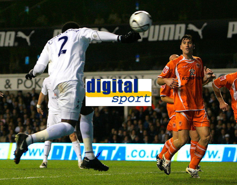 Photo: Tom Dulat.<br /> <br /> Tottenham Hotspur v Blackpool. Carling Cup. 31/10/2007.<br /> <br /> Pascal Chimbonda scores second goal for Tottenham Hotspur, Tottenham leads 2-0