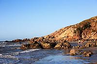 pedra furada bored rock beach in the beautiful fisherman village of Jericoacoara in ceara state brazil