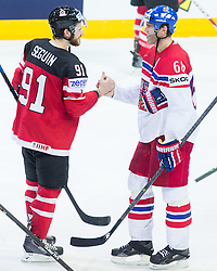 Tyler Seguin of Canada and Jaromir Jagr of Czech Republic after the Ice Hockey match between Canada and Czech Republic at Semifinals of 2015 IIHF World Championship, on May 16, 2015 in O2 Arena, Prague, Czech Republic. Photo by Vid Ponikvar / Sportida