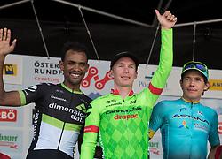 04.07.2017, Pöggstall, AUT, Ö-Tour, Österreich Radrundfahrt 2017, 2. Etappe von Wien nach Pöggstall (199,6km), Siegerehrung, im Bild v.l. Mekseb Debesay (ERI, Dimension Data), Tom-Jelte Slagter (NED, Cannondale-Drapac Pro Cycling Team) Etappensieger, Moreno Miguel Angel Lopez (COL, Astana Pro Team) // f.l. Mekseb Debesay of Eritrea (Dimension Data) stage winner Tom-Jelte Slagter of Nederlands (Cannondale-Drapac Pro Cycling Team) Moreno Miguel Angel Lopez of Colombia (Astana Pro Team) on Podium during the 2nd stage from Vienna to Pöggstall (199,6km) of 2017 Tour of Austria. Pöggstall, Austria on 2017/07/04. EXPA Pictures © 2017, PhotoCredit: EXPA/ Reinhard Eisenbauer