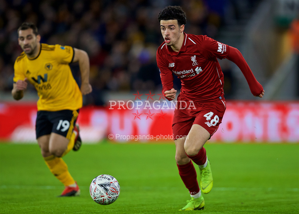 WOLVERHAMPTON, ENGLAND - Monday, January 7, 2019: Liverpool's Curtis Jones during the FA Cup 3rd Round match between Wolverhampton Wanderers FC and Liverpool FC at Molineux Stadium. (Pic by David Rawcliffe/Propaganda)