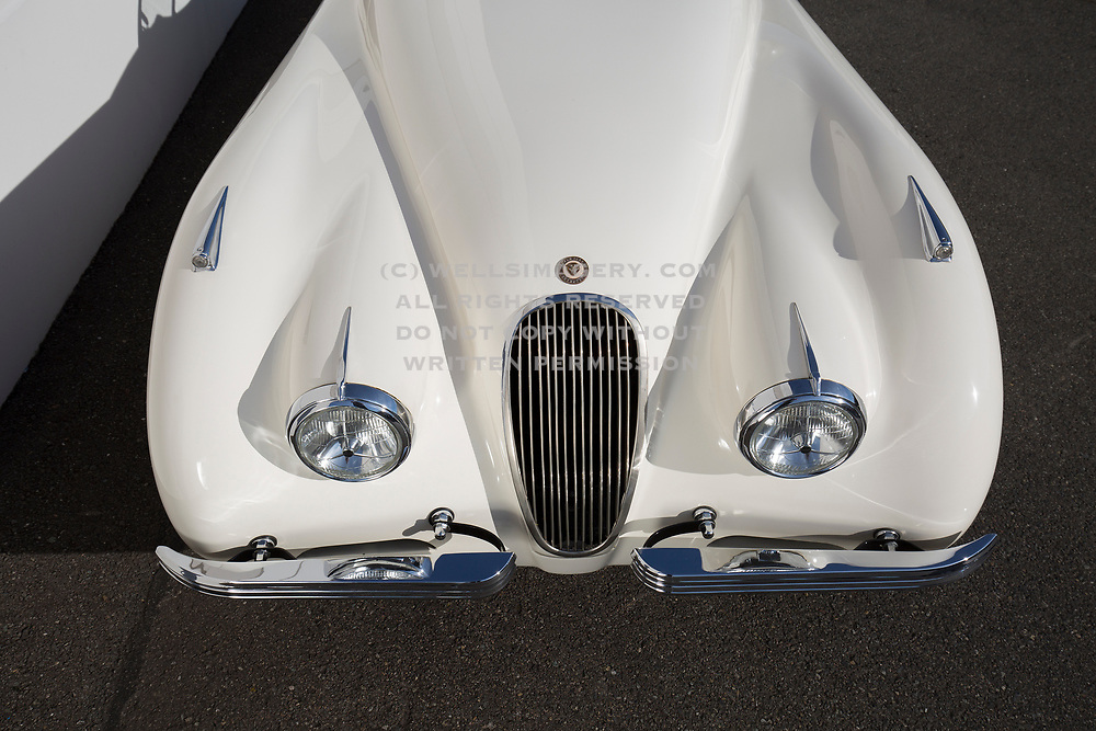 Image of a White Jaguar XK120 in Washington state, Pacific Northwest by Randy Wells
