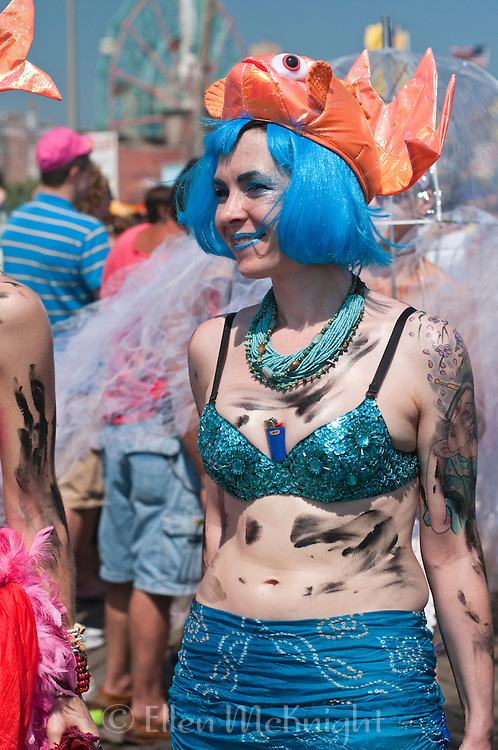 Mermaid smeared with oil in protest of the BP / Deepwater Horizon oil spill on the Gulf Coast - June 19, 2010
