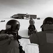 Catching a lift from the dark sector back to South Pole Station for lunch.