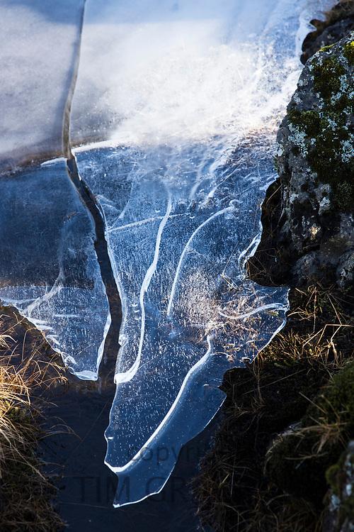 Sheet of glacial ice melting at Myrdalssandur, an outwash plain in Vatnajokull National Park, Iceland