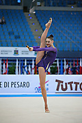 Alina Maksimenko during qualifying at clubs in Pesaro World Cup at the Adriatic Arenai on 27 April, 2013.<br /> Alina is an Ukrainian individual rhythmic gymnast. She was born on July 10, 1991 in Zaporizhia, Ukraine.