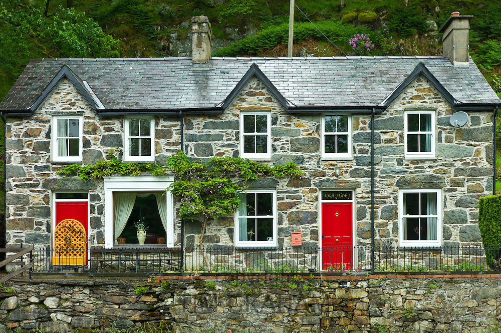 Typical Welsh stone cottages with Welsh slate roofs at Nant Gwynant, Gwynedd, Wales