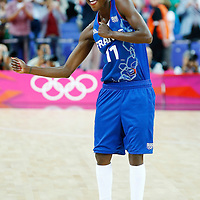 09 August 2012: France Emilie Gomis celebrates and dances after the 81-64 Team France victory over Team Russia, during the women's basketball semi-finals, at the 02 Arena, in London, Great Britain.