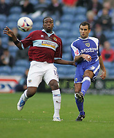 Photo: Paul Thomas.<br /> Burnley v Cardiff. Coca Cola Championship.<br /> 10/09/2005.<br /> <br /> Gifton Noel-Wiiliams and Chris Barker.